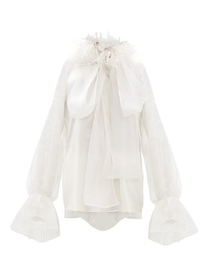 Roksanda luana feathered silk satin organza blouse