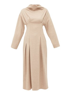Roksanda marea cowl neck wool jersey midi dress