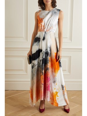 Roksanda nysa asymmetric printed silk-satin midi dress