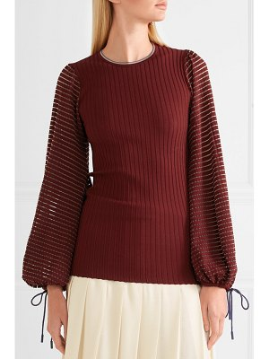 Roksanda saida tulle-paneled stretch-jersey and ribbed-knit top