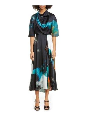 Roksanda watercolor print cowl neck silk midi dress