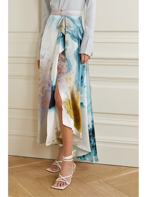 Roksanda zinja asymmetric draped printed silk-satin skirt