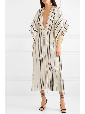 Roland Mouret adamson lace-up striped canvas and stretch-crepe midi dress