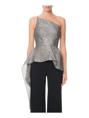 Roland Mouret Caplan One-Shoulder Shimmered Peplum Top