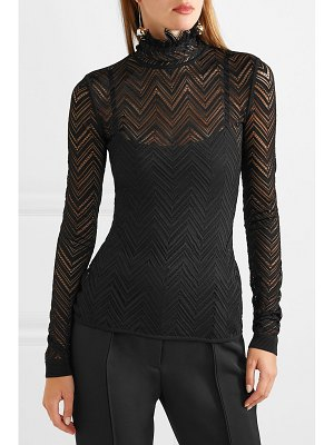 Roland Mouret caron ruffled chevron stretch-lace top