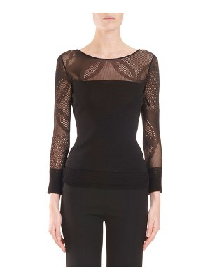 Roland Mouret Cedar Round-Neck Long-Sleeve Fitted Top