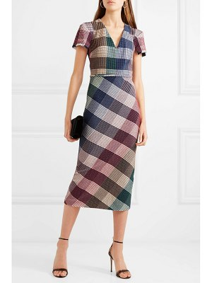 Roland Mouret chaney checked cotton-blend bouclé midi dress
