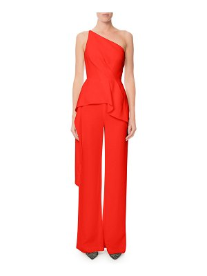 Roland Mouret Charlesworth One-Shoulder Draped Peplum Jumpsuit