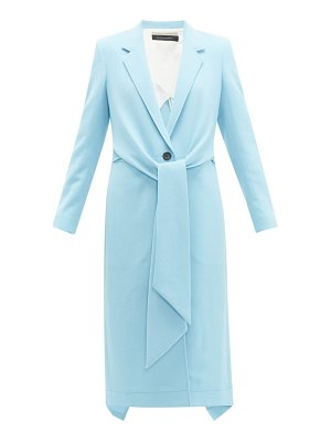 Roland Mouret hollywell tie front wool crepe coat