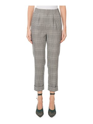 Roland Mouret Horley Slim-Leg Checkered Crop Pants