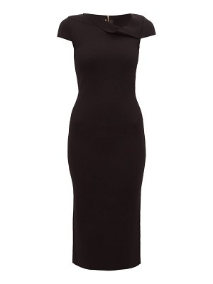 Roland Mouret keel asymmetric neck knitted pencil dress