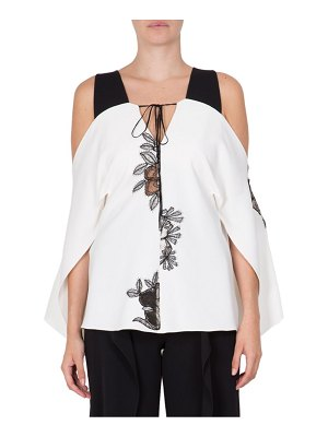 Roland Mouret Marcus Printed Cold-Shoulder Top