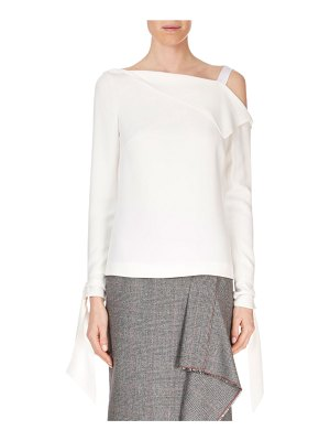 Roland Mouret One-Shoulder Fold-Over Single-Strap Long-Sleeve Top