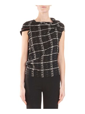 Roland Mouret Open-Back Check-Woven Top