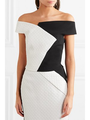 Roland Mouret overton off-the-shoulder two-tone crepe top