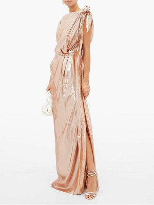 Roland Mouret silvabella gathered silk-blend lamé gown