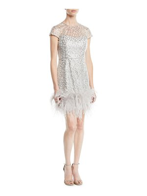 Roland Nivelais Short-Sleeve Fitted Beaded Cocktail Dress w/ Feather Hem