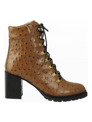 Ron White Estraya Ostrich-Print Leather Ankle Booties