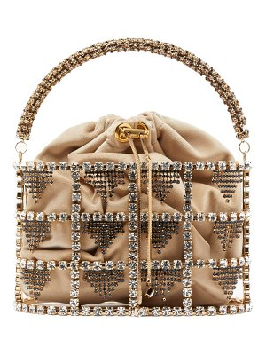 Rosantica By Michela Panero minerva crystal embellished cage clutch