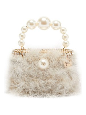 Rosantica nuvola faux-pearl handle marabou-feather bag