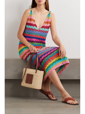 Rose Carmine metallic striped crocheted maxi dress
