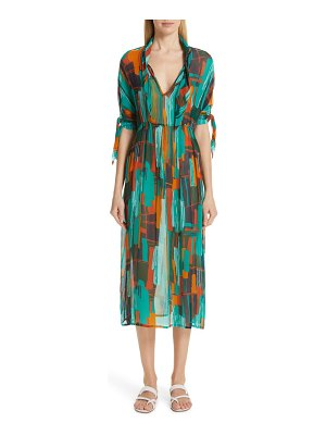 Roseanna print tie neck midi dress