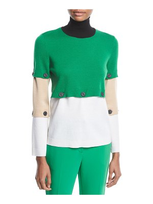 Rosetta Getty Button-Off Colorblocked Turtleneck Wool Sweater