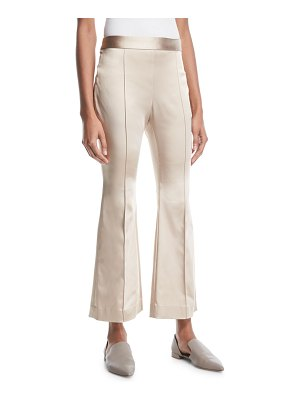 Rosetta Getty Flared-Leg Duchess Satin Cropped Pants