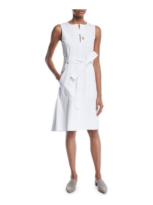 Rosetta Getty Sleeveless Tab-Neck Belted Cotton Poplin Dress