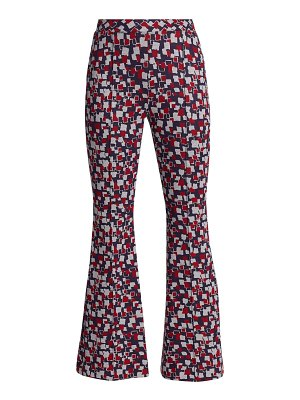 Rosetta Getty square-print cropped flare trousers