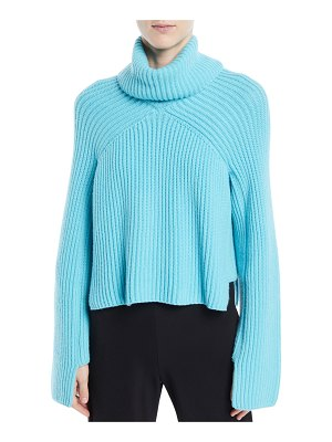 Rosetta Getty Turtleneck Long-Sleeve Cropped Chunky Ribbed Sweater