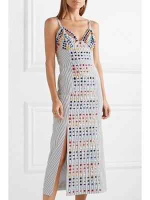ROSIE ASSOULIN embellished striped cotton-poplin midi dress