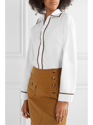 ROSIE ASSOULIN faux leather-trimmed cotton-blend poplin shirt