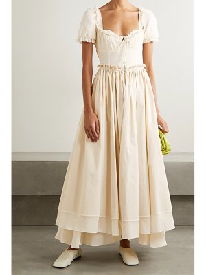 ROSIE ASSOULIN garten party layered ruffled cotton-voile and canvas maxi dress