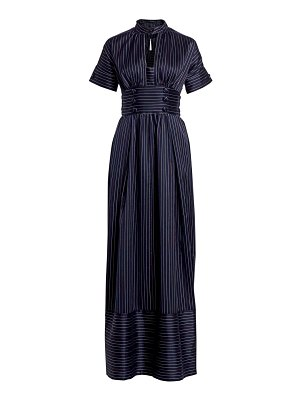 ROSIE ASSOULIN pinstripe belted maxi dress