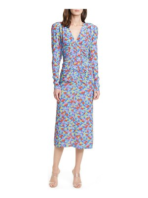 ROTATE heather floral print long sleeve midi dress
