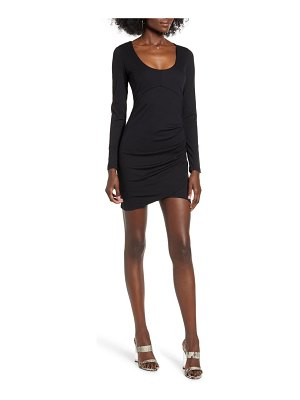 ROW A long sleeve ruched ribbed body-con dress