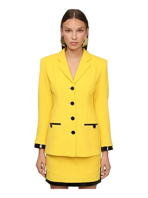 Rowen Rose Wool crepe jacket w/ vinyl