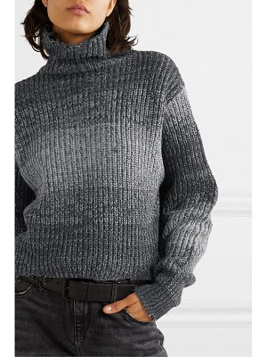 RtA beau cropped distressed ombré cotton turtleneck sweater