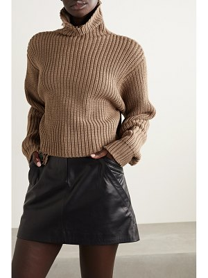 RtA beau distressed ribbed cotton turtleneck sweater