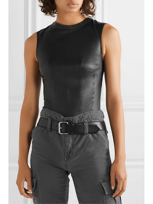 RtA claire leather and stretch-jersey bodysuit