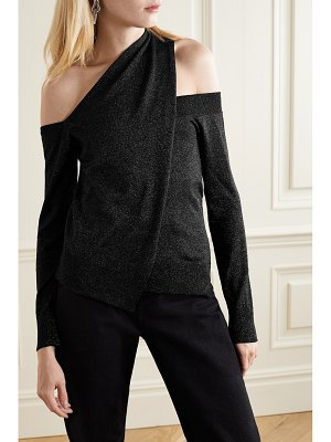 RtA juliet one-shoulder draped wool and lurex-blend sweater