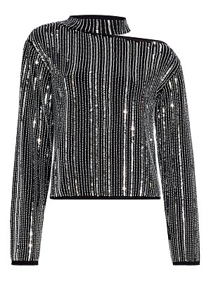 RtA langley cut-out sequin stripe sweater