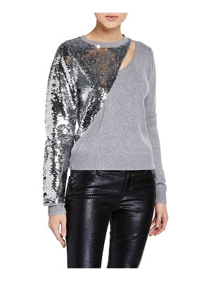 RtA Teagan Slashed Sequined Pullover Sweater