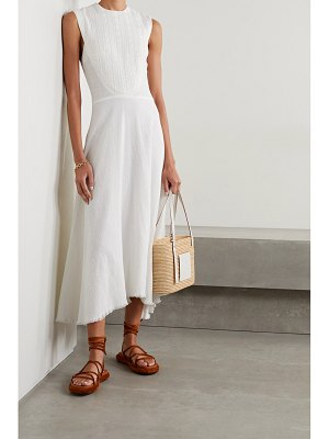 Rue Mariscal net sustain asymmetric embroidered cotton-jacquard midi dress