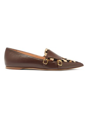 RUPERT SANDERSON niwin point-toe leather and pony hair monk flats