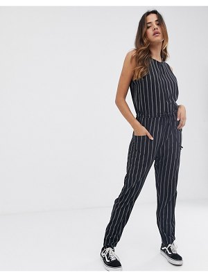 RVCA pop out jumpsuit in stripe-gray