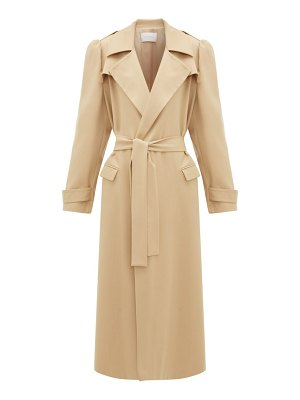 Ryan Roche puffed-sleeve wool-gabardine trench coat