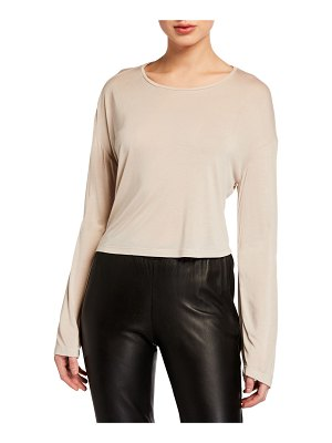 Sablyn Jaimie Cashmere-Blend Cropped Long-Sleeve Top