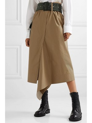 Sacai belted shell-trimmed draped cotton-canvas midi skirt